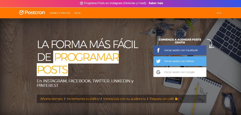Herramientas para programar publicaciones en redes sociales: Postcron