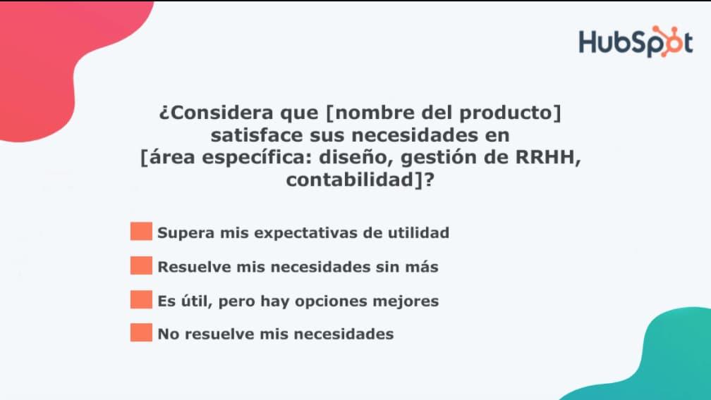 Preguntas para la encuesta de satisfacción del cliente: satisfacción de necesidades