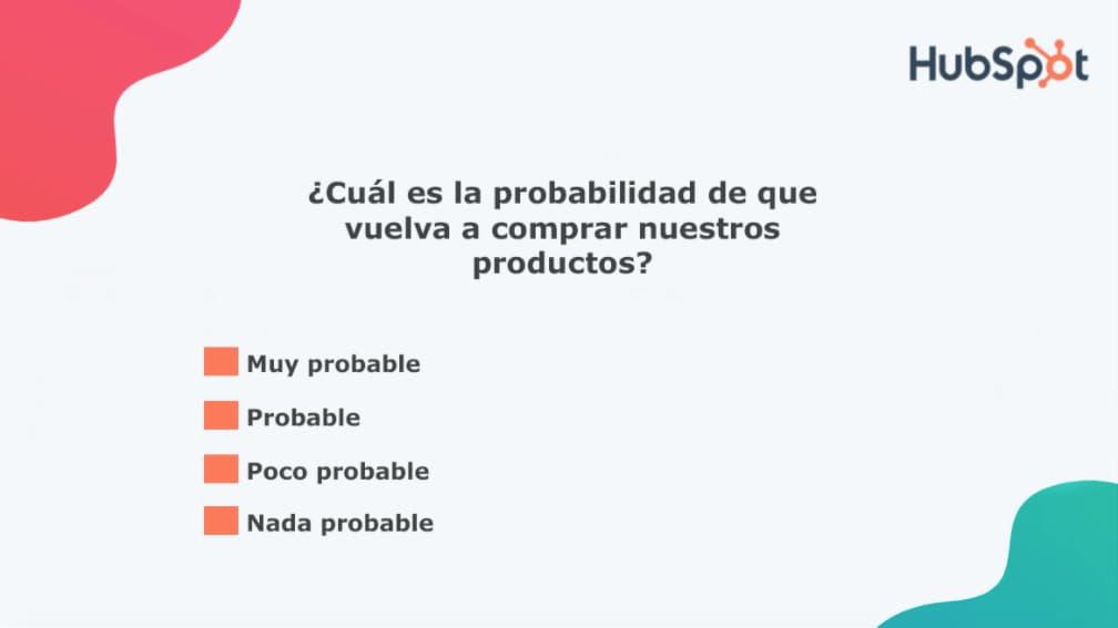 Preguntas para la encuesta de satisfacción del cliente: compra recurrente