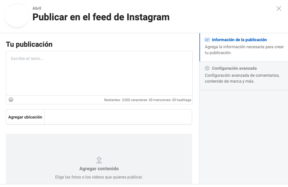 Campos para publicación de feed para Instagram en Creator Studio