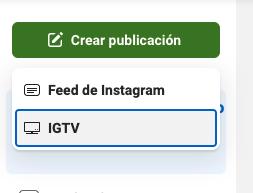 Crear nueva publicación para IGTV de Instagram