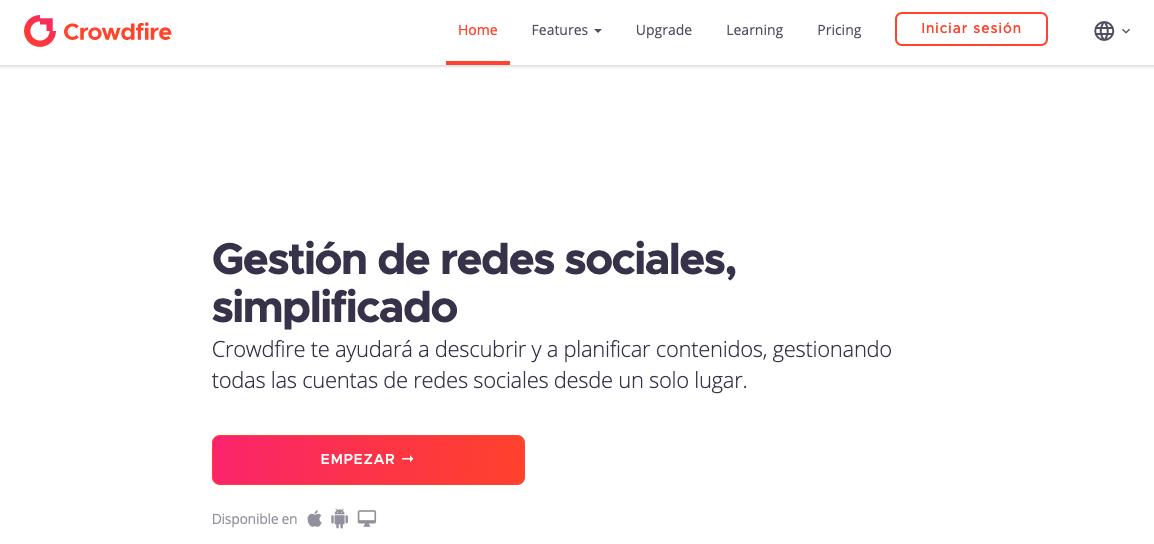 Software gratuito para programar publicaciones de Instagram: Crowdfire