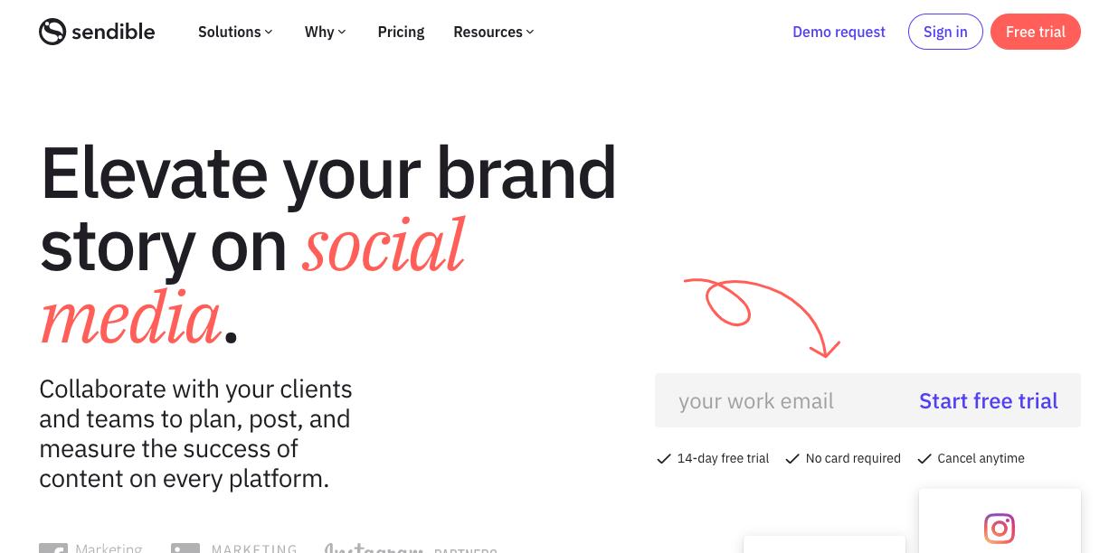 Software de pago para programar publicaciones en Instagram: Sendible