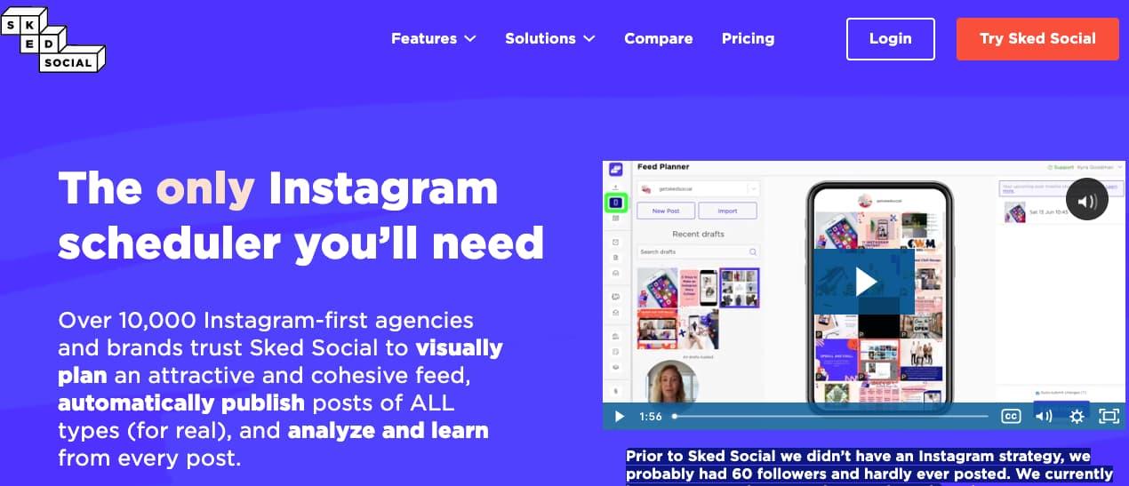 Software de pago para programar publicaciones en Instagram: Sked Social