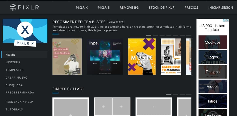 Software de diseño grafico gratis: Pixlr