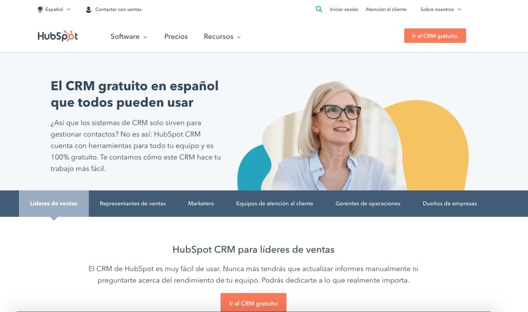 Programas de control de ventas gratis: HubSpot