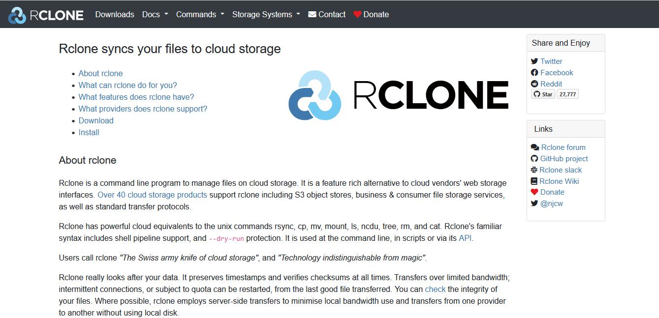 Herramientas para migración de datos: Rclone