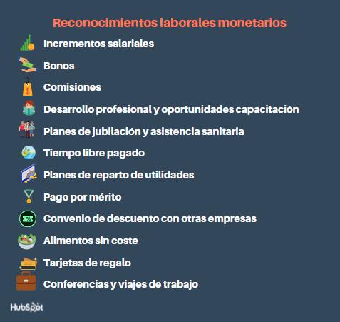 Tipos de reconocimiento laboral monetario
