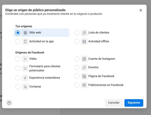 Cómo hacer remarketing en Facebook: haz clic en «Sitio web»