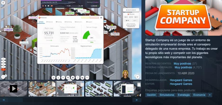 Ejemplo de simulador de negocios: Startup Company