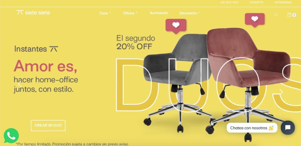 Sitio de Siete Siete, tienda electrónica de muebles
