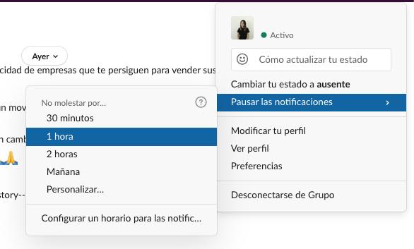 Pausar notificaciones en Slack