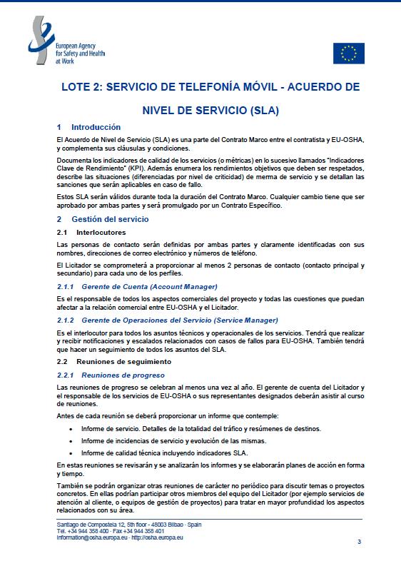 Ejemplo de SLA de Agencia Europea para la Seguridad y la Salud en el Trabajo