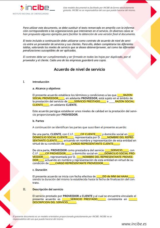 Ejemplo de SLA de INCIBE