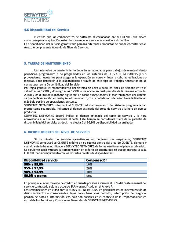 Ejemplo de SLA de Servytec
