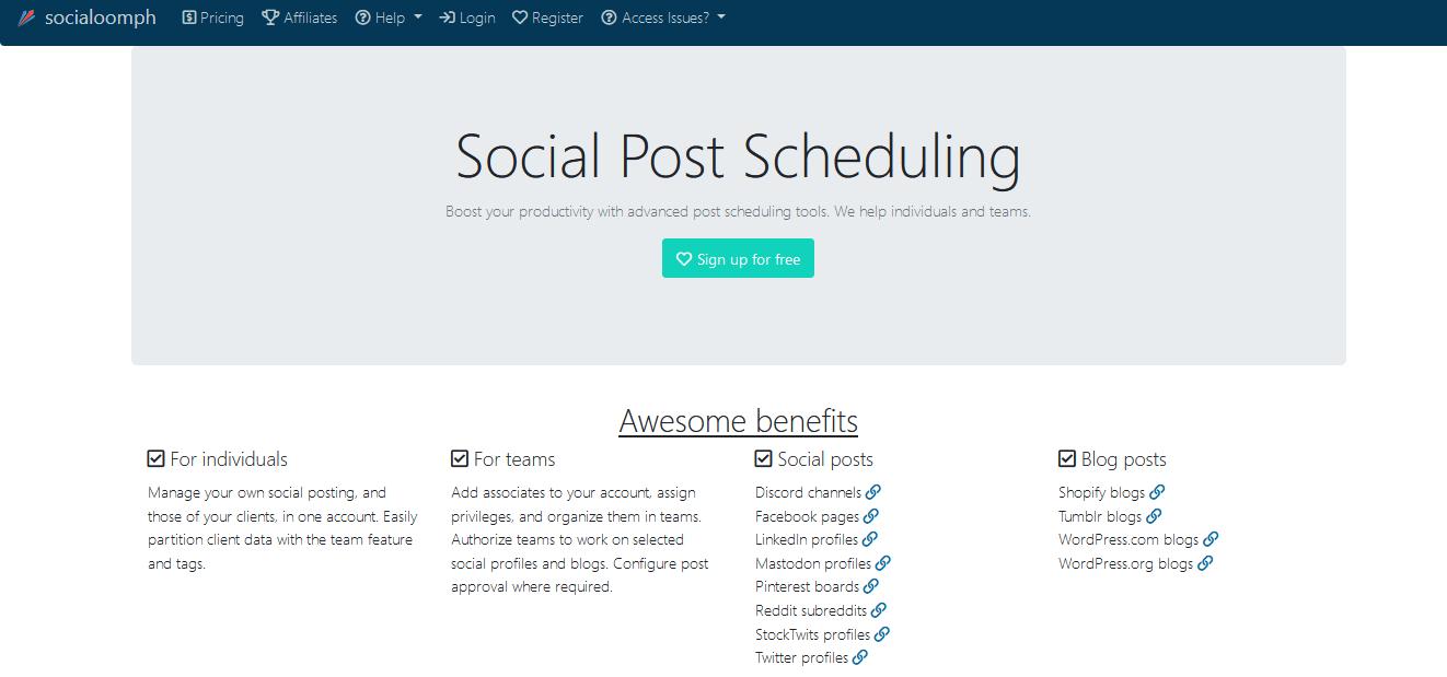 Herramientas para programar publicaciones en redes sociales: SocialOomph