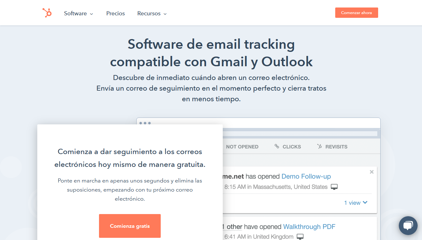 Software de email tracking para Outlook y Gmail de HubSpot