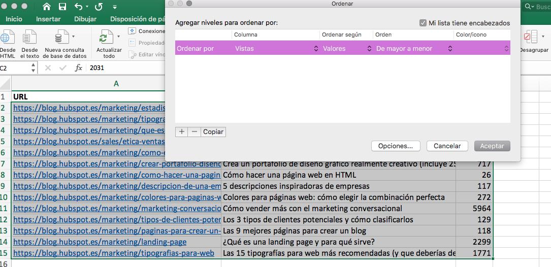 Cómo hacer una tabla dinámica en Excel: ordenar por atributos