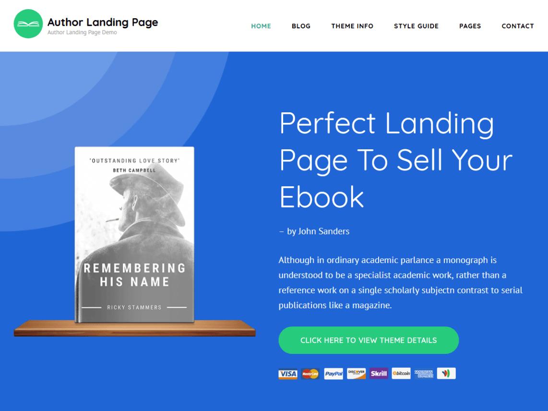 Template gratuito para landing page: Author Landing Page