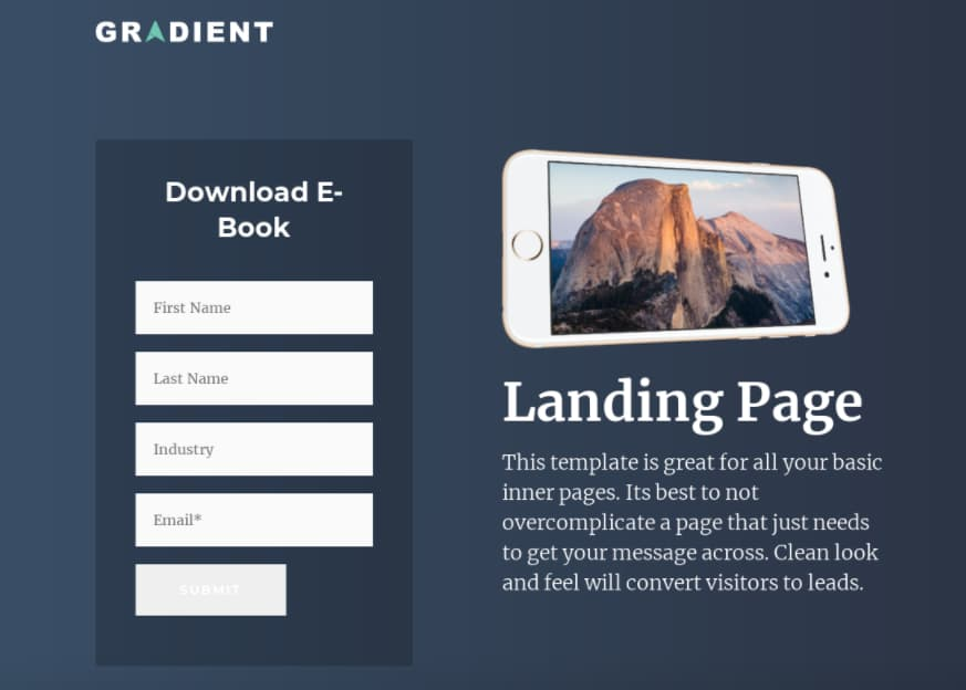 Template gratuito para landing page: Gradient