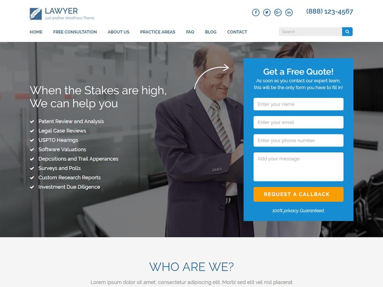 Template gratuito para landing page: Lawyer Landing Page