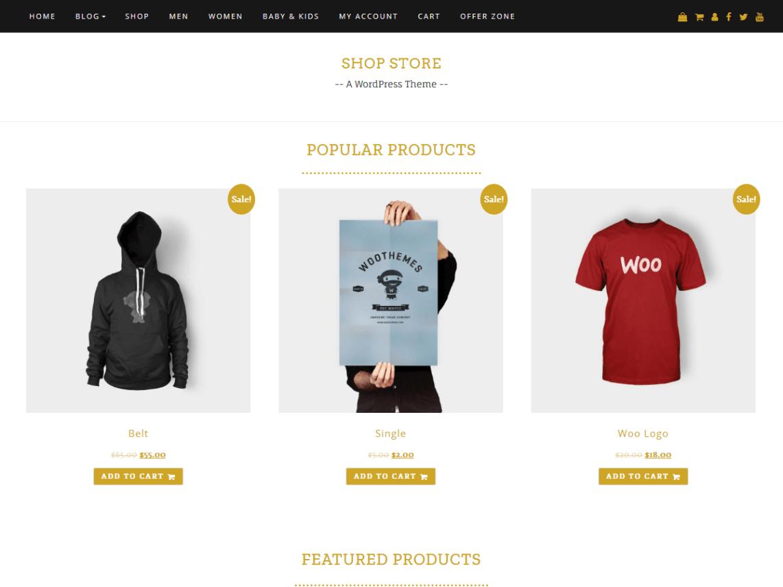 Template gratuito para landing page de una tienda de ropa: Shop Store
