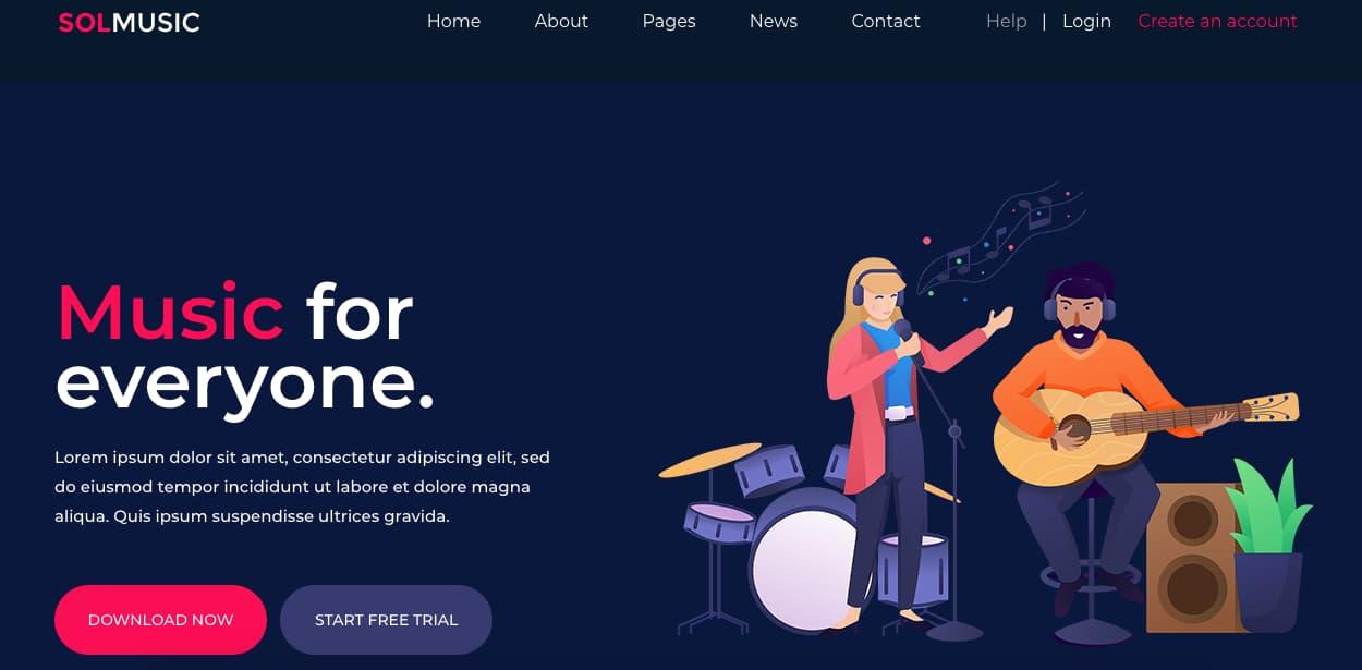 Template gratuito para landing page: Solmusic