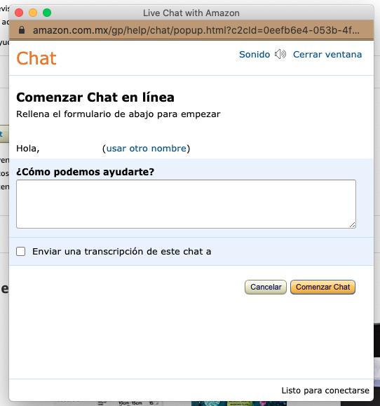 Tipos de formularios de contacto: formato simple de Amazon