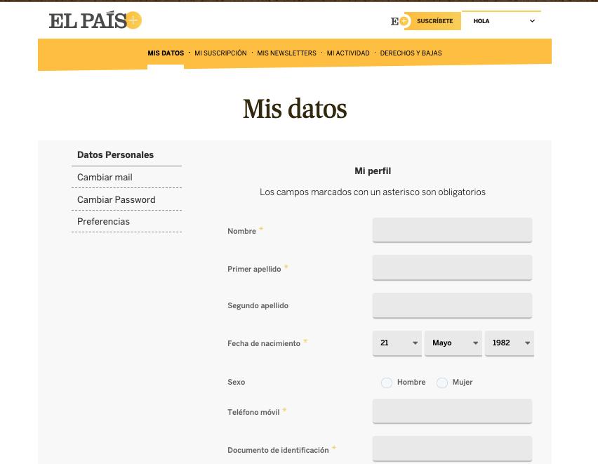 Tipos de formularios de contacto: formulario de registro de El País