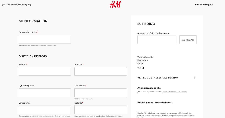 Tipos de formularios de contacto: pedidos de H&M
