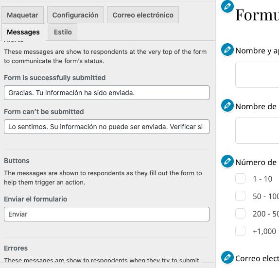 Mensajes predeterminados de formulario de contacto con plugins de WordPress