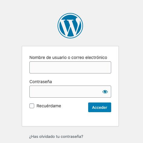 Formulario de contacto en WordPress: entrar a la cuenta