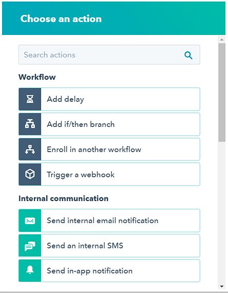 Acciones en ejemplo de workflow de HubSpot