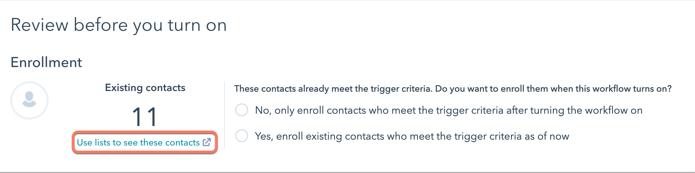 Ejemplo de workflow con HubSpot: listas de contactos