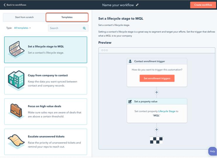 Ejemplo de workflow con HubSpot: vista preliminar