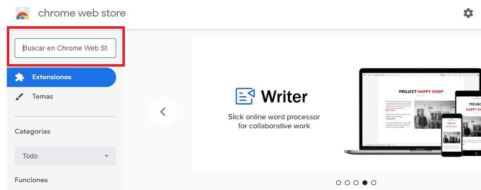 Barra de búsqueda de la Chrome Web Store