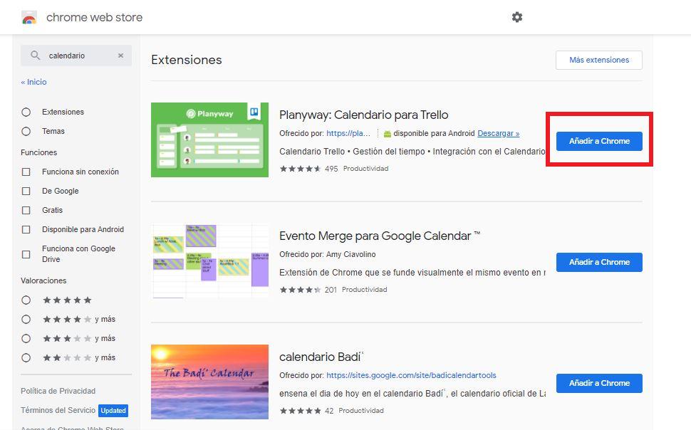Boton para añadir una extensión al navegador Chrome