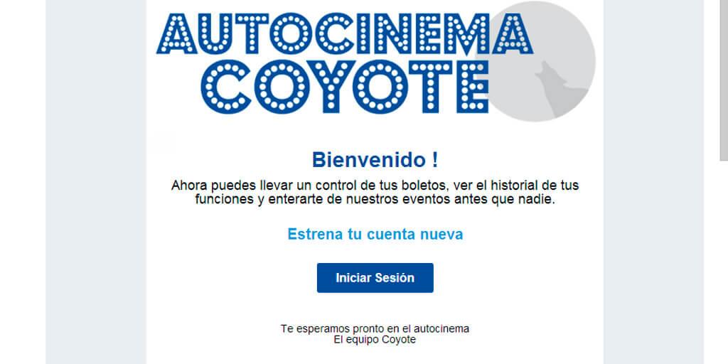 Mensaje de bienvenida de Autocinema Coyote para email marketing