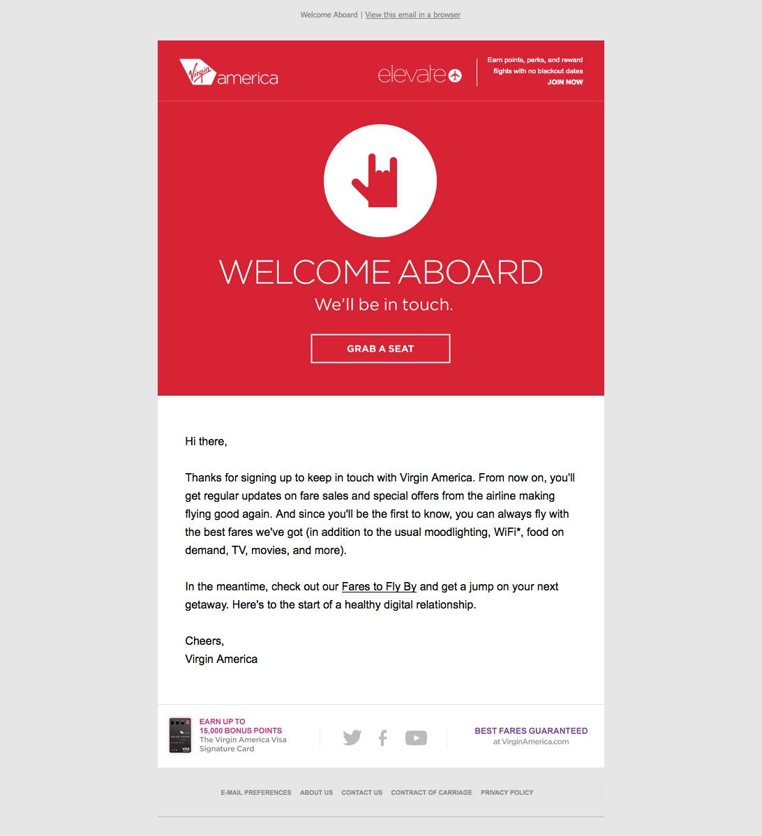 Ejemplo de mensaje de bienvenida de Virgin America
