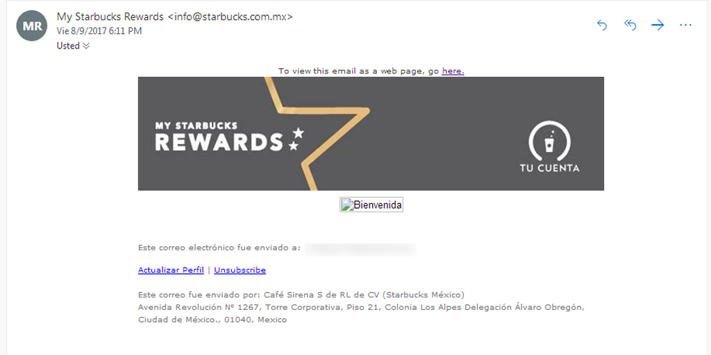 Mensaje de bienvenida de Starbucks Rewards