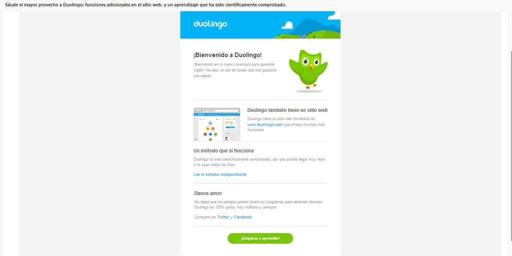 Mensaje de bienvenida de Duolingo para email marketing