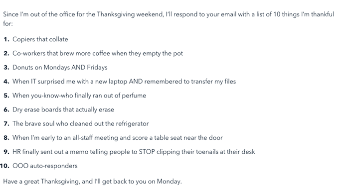 Mensaje de fuera de la oficina para un día festivo