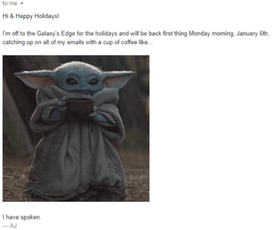 Mensaje de fuera de la oficina con un meme