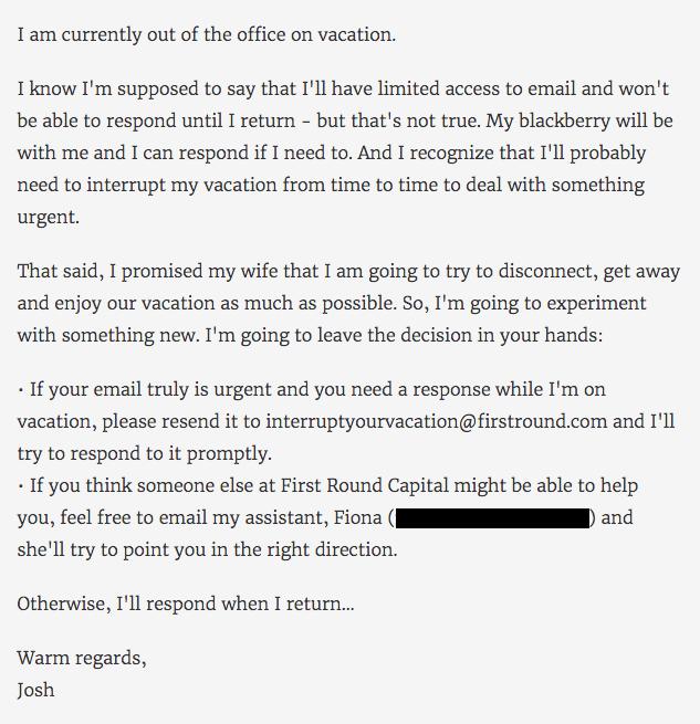Correo electrónico honesto para avisar que estás fuera de la oficina