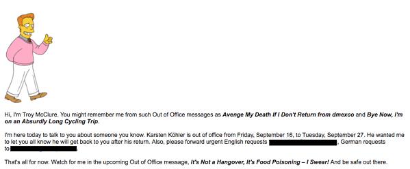 Mensaje para anunciar que estás fuera de la oficina con tercera persona