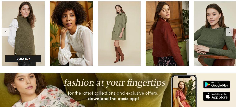 Ejemplos de omnicanalidad: Oasis Clothing