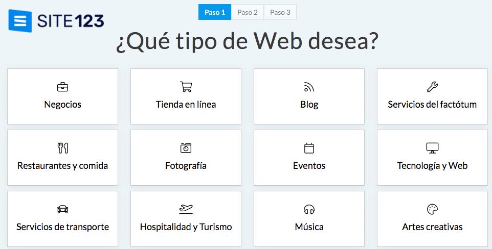 Página para crear blogs gratis: Site123