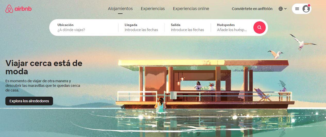 Ejemplo de sitio web de empresa original: Airbnb