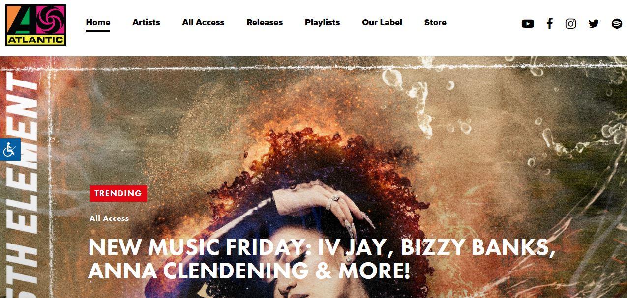 Ejemplo de sitio web original: Atlantic Records