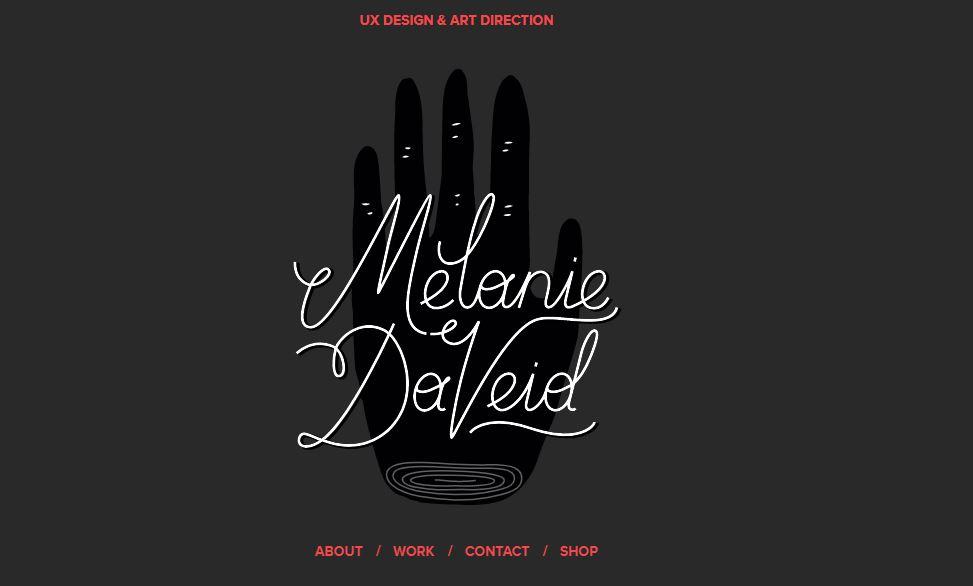 Ejemplo de sitio web original personal con portafolio: Melanie Daveid